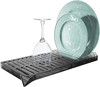 InterDesign iDesign Austin Dish Drainer, Dish Rack with Removable Tray,Matte Black/Smoke