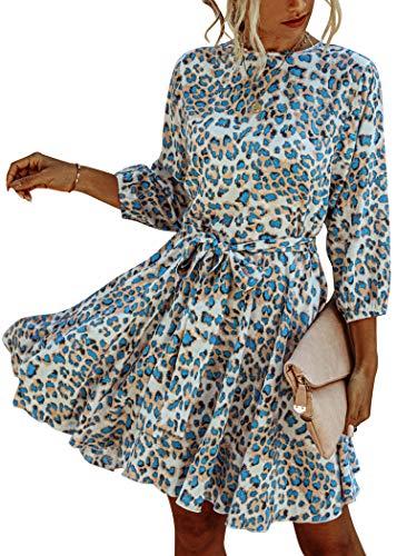 Spec4Y Damen Kleider Langarm Leopardenmuster Kurz Sommerkleid Swing Plissee Minikleid Rüschen Strandkleid Skaterkleid mit Gürtel Blau Large