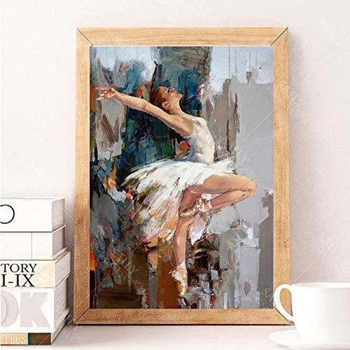 Canvas Print Posters en Prints Hoge Kwaliteit Ballerina Olie Schilderen Beroemde Mahnoor Artiest Geschilderd Abstract Ballet Meisje Muur Schilderen Frameless/60x90