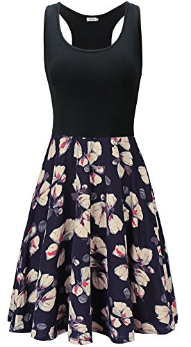KorMei Damen Ärmelloses Beiläufiges Strandkleid Sommerkleid Tank Kleid Ausgestelltes Trägerkleid Blau Blume-D40 S