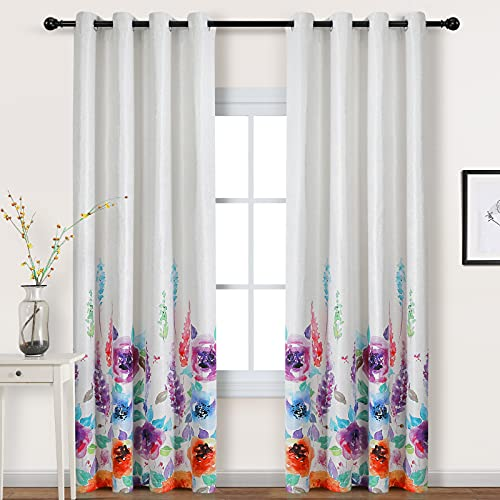 MYSKY HOME Premium Floral Curtains for Bedroom, Natural Linen Textured Room Darkening Curtains with Flower Print Design, Set of 1 Curtain Panel (52 x 84 Inch, Purple)