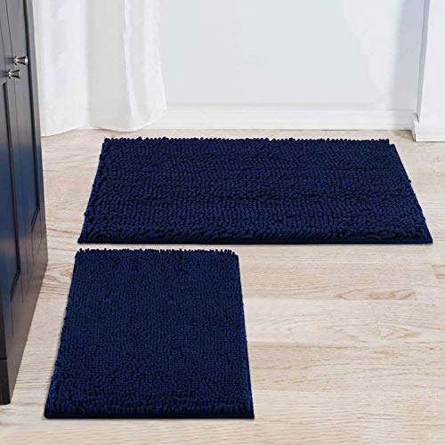 """smiry Bathroom Rugs and Mats Set, 2 Piece Chenille Bath Mat Set, Machine Wash Dry, Non Slip Absorbent Shaggy Bath Rug for Bath Room, Shower and Tub (20"""" x 32""""+17"""" x 24"""", Navy Blue)"""
