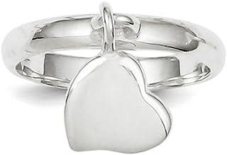 925 Sterling Silver Dangle Heart Ring