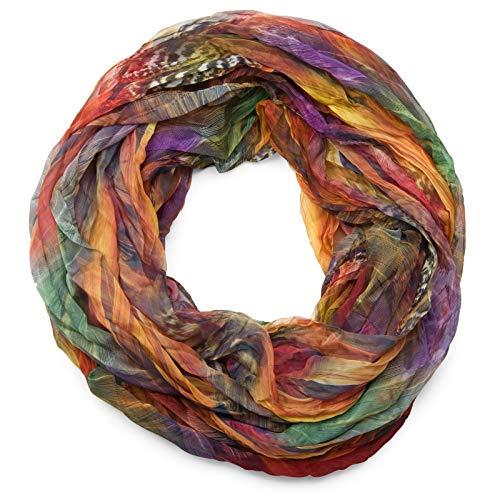 styleBREAKER Sciarpa ad anello in stile batik con motivo a piume, effetto stropicciato, leggera e setosa, 01016064, colore:Colorato