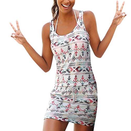Onsoyours Mujer Casual Playa Largos Verano Tie Dye Vestido Boho Hendidura Falda Larga Maxi Vestido Playeros B Blanco 1 38