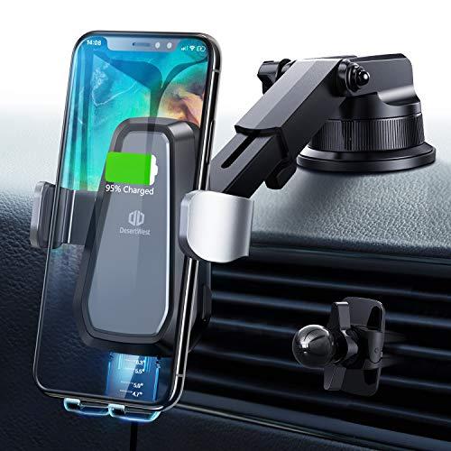 DesertWest 7.5W/10W Fast Wireless Charger Auto Handyhalterung Automatischer Motor Betrieb Qi Ladestation Handyhalter fürs Auto mit Lüftungsclip Induktives Ladegerät für iPhone Samsung&Alle Qi Geräte