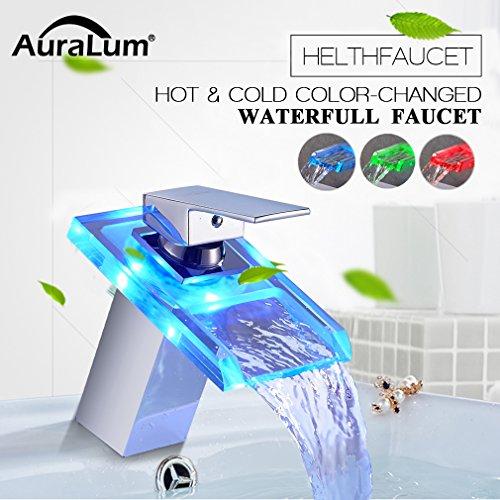 Auralum® LED Rubinetti per Bagno Rubinetto a Vetro cascata Rubinetto per Lavabo Miscelatore Bagno