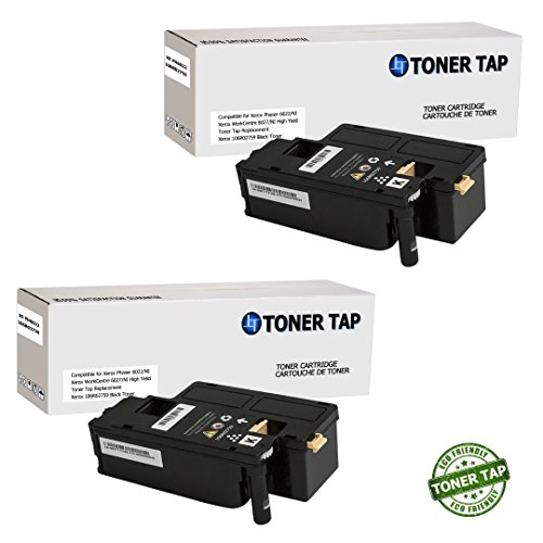 Toner Tap Compatible Toner 2 Pack Black Cartridge for Xerox Phaser 6022/NI Wireless Color Photo Printer, for Xerox WorkCentre 6027/NI Wireless Color Photo Printer with Scanner, Copier and Fax