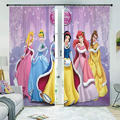 HomeAZWQ Cortinas Blackout Termicas Aislantes Largas Princesa De Hadas De Dibujos Animados H245 X W340Cm
