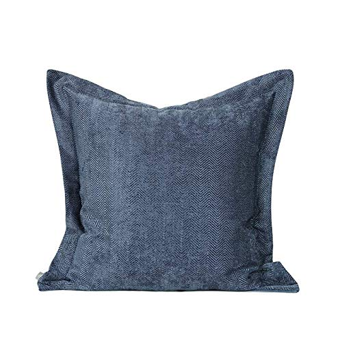 Cushion Covers Throw Pillow Cover Simple And Modern Chenille Wave Texture Sofa Bedroom Living Room Decoration Pillowcase Large Size Square Blue 55cm x 55cm (Without Core)