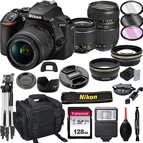 Nikon D5600 DSLR Camera with 18-55mm VR + Tamron 70-300mm + 128GB Card, Tripod, Flash, and More (20pc Bundle)