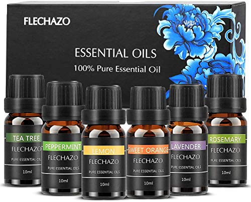 Duftöl Diffuser Öle Set, 100% Pure Diffuser Ole -Zitronengras, Pfefferminze, Orange, Lavendel, Eukalyptus, Teebaum, Rose(6pack-a)