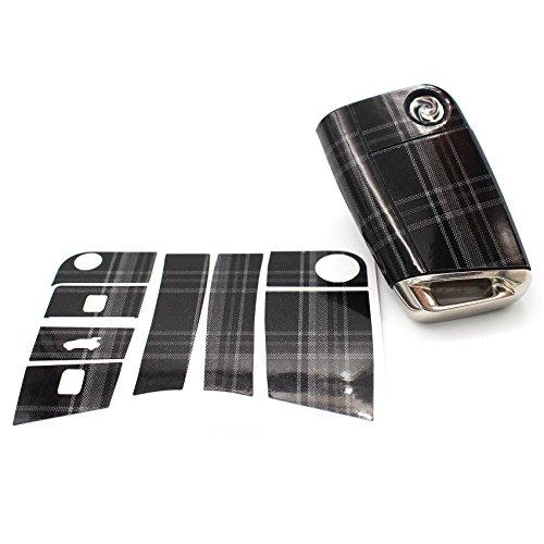 Schlüssel Folie VB für 3 Tasten Auto Schlüssel Folien Cover - Finest Folia Etui Schutzhülle Schlüsselhülle (Jacky Stoffmuster Grau)