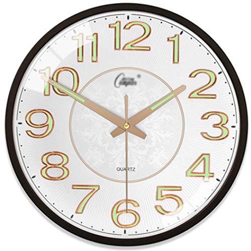 LZL Reloj de Pared de visión Nocturna de 12 Pulgadas silenciosa sin tictac fáciles de Leer Relojes de Pared Decorativos para la Sala de Estar decoración casera Oficina kitche (Color : B)