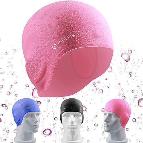 Silikon Badekappe, VETOKY Unisex Schwimmkappe 100% Wasserdicht Rutschfeste Bademütze Badehaube Für Männer, Frauen Lange Haare und kinder(6+ Jahre)
