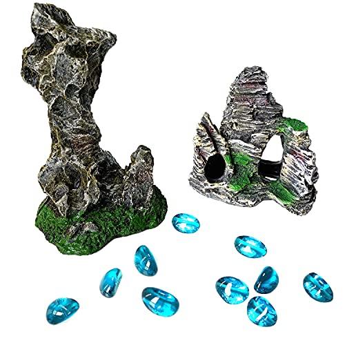 OrgMemory Aquarium Décor Rocks, Hideout Cave, Aquariumdekorationen, Steingarten für die Aquarienlandschaft (Steingarten und Steine)