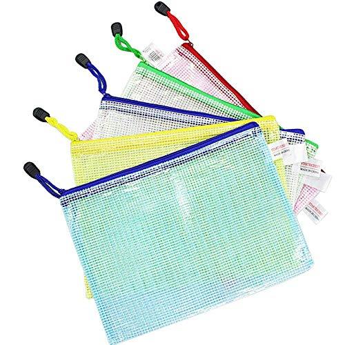 Wskderliner 10 Piezas Bolsas de Documentos Carpetas Plastico Transparente a5 de Malla con Cremallera para Escolar Oficina Viaje Tarea Certificados Recibos Papelería