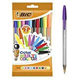 BIC Ecriture Cristal Multicolour Stylos-Bille Pointe Large (1,6 mm) - Couleurs Assorties, Pochette de 10