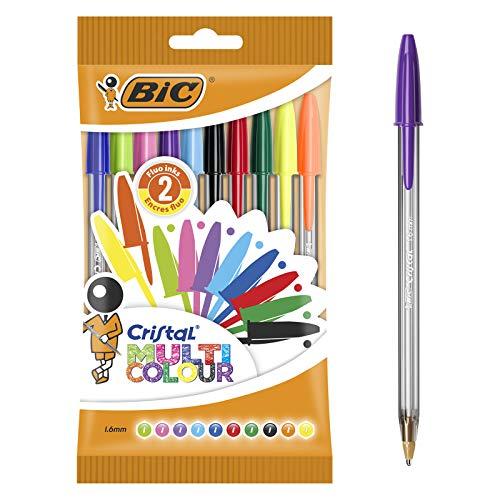 BIC Kugelschreiber Cristal Multicolor - Kugelschreiber Set (mit 10 verschiedenen Farben für Büro, Schule und Alltag) 1 Beutel mit 10 Stück