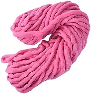 2 pcs Soft Wool 100% Roving Bulky Thick Big Yarn Spinning Hand Knitting Thread Crochet Yarn for Hat Scarf Knitting (Pink)