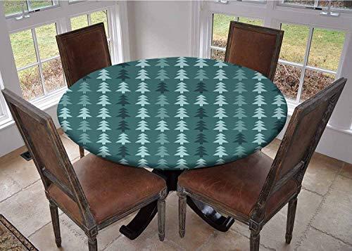 Mantel con bordes elásticos, mantel de mesa de café, verde azulado y blanco, formas geométricas coloridas, diseño hipster femenino, divertido arte gráfico, multicolor, poliéster, Color 9, 54 inches