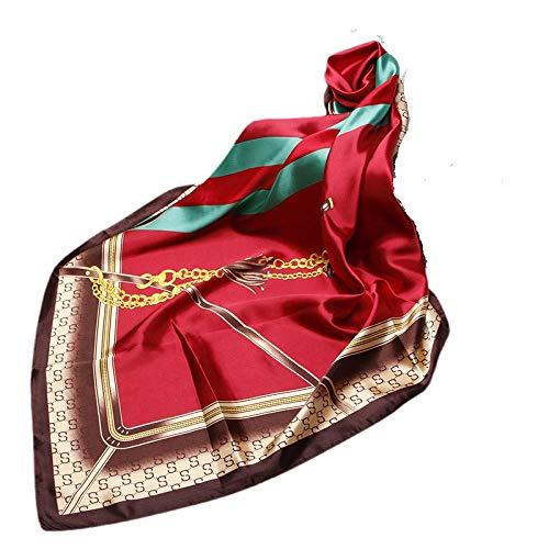 HCA Toalla de seda femenina y simulación de verano Simulación de seda Ribbago de impresión pequeña toalla cuadrada regalo bufanda chal-15_90 * 90 cm