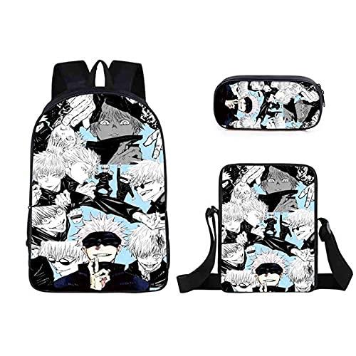 HMMHHE Viajes portátil Mochila jujutsu Kaisen Mochila Escolar Bolsa, 3D Totalmente Impreso Escolar de Anime Ligero (Color : Color9)
