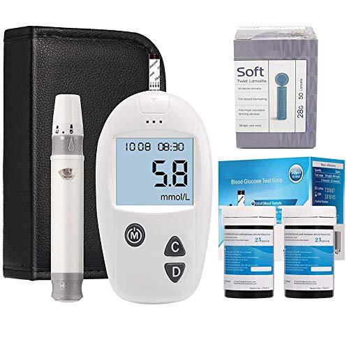 Masskko Prueba de Diabetes Equipo Monitor de glucosa en Sangre Accu Seguro Azúcar en glucosa en Sangre Prueba Kit con 50x Tiras de Prueba Gratis y 50x lancetas sin Dolor Ouoy