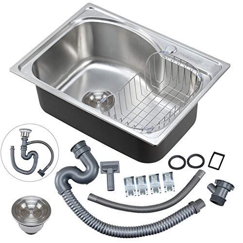 Voilamart Edelstahl Einbauspüle Eckige Edelstahlspüle Küchenspüle Unterbau Spülbecken, Außenmaße 560 x 410 mm