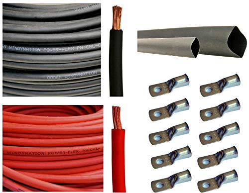 WNI 8 AWG 8 Gauge 15 Feet Black + 15 Feet Red Battery Welding Pure Copper Ultra Flexible Cable + 5pcs of 5/16' & 5pcs 3/8' Copper Cable Lug Terminal Connectors + 3 Feet Heat Shrink Tubing