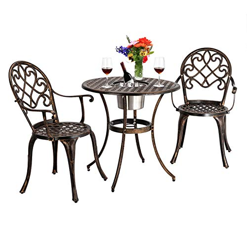 Garden Patio Bistro Table And Chair Set, Cast Aluminum Bronze Finish Hollow Out European Style, 3 Pcs Garden Furniture Set, Patio Table & 2 Chairs With Armrests, Patio Armchair Ice Bucket Table