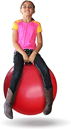 Swastik Inflatable Sit and Bounce Rubber Hop Ball for Kids Space Hopper Jump N Bounce Handle Ride-on Toy Bouncy for Kids