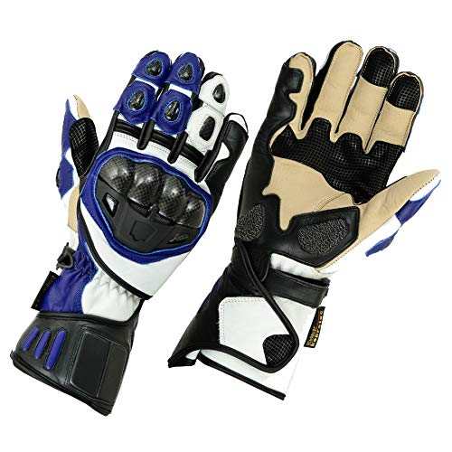 Texpeed - Gants de Protection de Moto - Cuir - Bleu/Noir - L - 9cm - 9.5cm