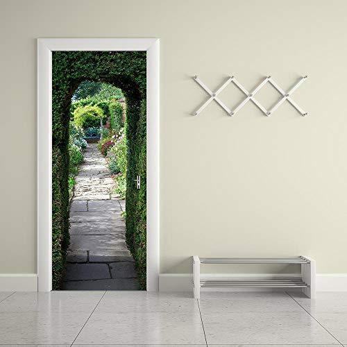 BXZGDJY 3D deur muur sticker brug overgang In zee 77X200cm deurbehang zelfklevende deur poster, zelfklevende 3D deur raam behang aftrekplaatjes, verwijderbare deur decoratieve plakfolie voor Di