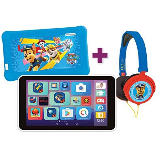 Lexibook- LexiTab Master Bundle Paw Patrol Chase-Tablet per Bambini da 7  con App di apprendimento Giochi parentali Controlli-Custodia Protettiva Cuffie Android Wi-Fi Google Play Youtube