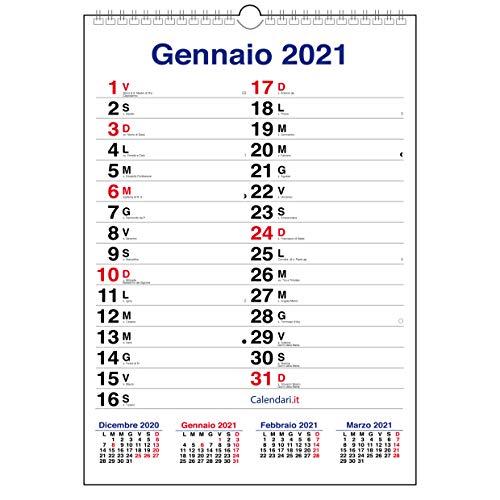 Calendario 2021 da muro mod. XL con più spazio per scrivere. Calendario con santi e lune
