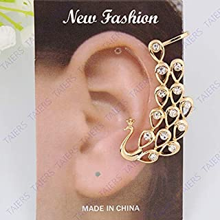 Kancus Left Ear Cuff Earring Post Clip Imperial Crown Peacock Golden Color Christmas Gift Party Nickel-Free Fashion Jewelry TAIERS