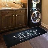 "USTIDE Black White Laundry Room Rug 20""x48"" for Washer and Dryer Nonslip Cushioned Laundry Floor Mats Comfy Laundry Runner Carpet Foam Mat for Kitchen Washroom Bathroom"
