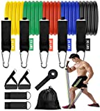 11pcs Resistance Bands Set with Handles, Ankle Straps, Door Anchor, Waterproof Carry Bag, Workout Bands Resistance for Women and Men Fitness Training, Gifts for Men