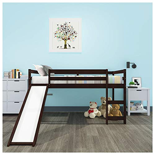 LXZWAN with Storage and Slide Stackable Wood Twin Over Full Bunk Bed for Kids Low Type Children's Elevated Single Bed Multifunctional Design with Stairs and Guardrails No Spring Box Required