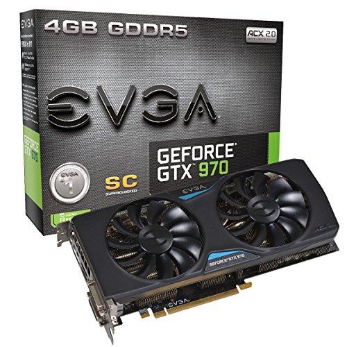 EVGA 04G-P4-2977-KR NVIDIA GTX970 SC 2S Grafikkarte (PCI-e 4096, 4GB GDDR5, VGA, 2X DVI, HDMI, DisplayPort, 1 GPU)