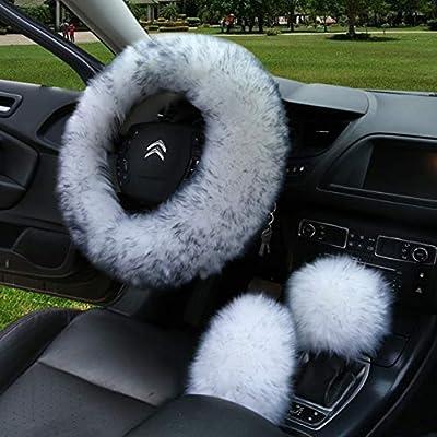 Gracefur Sheepskin Car Steering Wheel Cover Winter Warm Gear Shift Handbrake Wool Steering Covers 1 Set 3 Pcs Universal for Women / Girls / Ladies (Grey Tips)