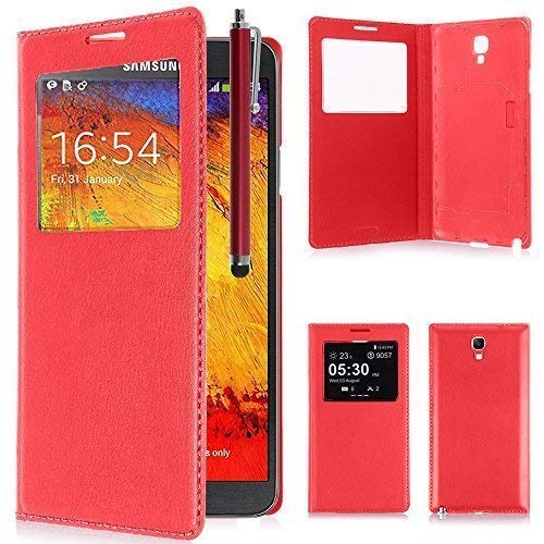 VCOMP ® Flip-Cover Hülle Hülle Schale Ansicht Kompatibel für Samsung Galaxy Note 3 Neo/Lite Duos 3G LTE SM-N750 SM-N7505 SM-N7502 - ROT + Eingabestift