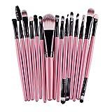 Longra 15 PC/Sätze Lidschatten Stiftung Augenbraue Lippenpinsel Make-up Pinsel Werkzeug (Rosa)
