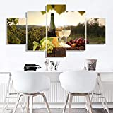 runtooer Tableau Toile Murale Déco Tableau Imprimé XXL Tableau Deco Canvas Vin Cave Vignoble