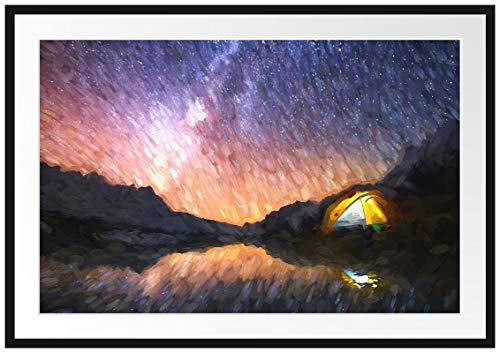 Picati Zelten unter tausenden Sternen Bilderrahmen mit Galerie-Passepartout | Format: 100x70cm | garahmt | hochwertige Leinwandbild Alternative