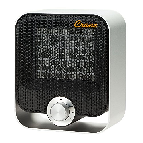 Crane Personal Ceramic Space Heater, 2 Settings 800W/1200W, Overheat Protection, For Home Office Desk, Black