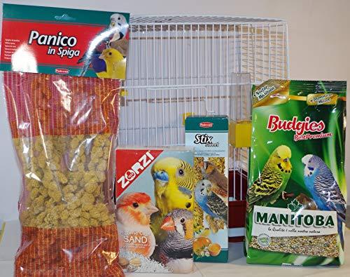 Zambonin Agricoltura Idea Regalo Kit Completo con gabbietta per Le cocorite comprensivo di alimento Completo, sabbietta per Il Fondo, spighe di panico, stiks con Miele e Uova.