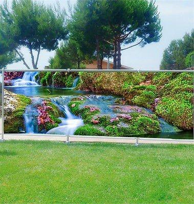 StickersNews Brise Vue Personalisierte, Garten, Terrasse, Balkon Deko Bach OEM 9103, Kunststoff Stoff, 100%, 180x70cm