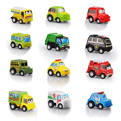 DY_Jin Juego de vehículos de Juguete Pull Back & Go de 12 Piezas, Juego de Mini Autos Surtidos para niños pequeños, Juguete de Auto City Bus para niños pequeños y niños